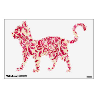 Red Floral Vintage Damask Pattern Wall Sticker