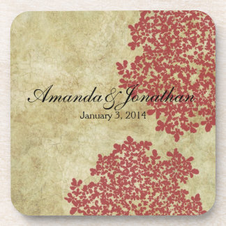 Red Floral Vintage Drink Coaster