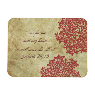Red Floral Vintage Rectangular Photo Magnet