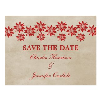 Red Floral Vintage Save the Date Postcard