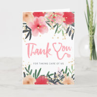 Red floral watercolor stethoscope nurse thank you