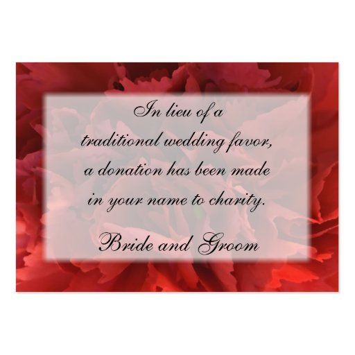 Red Floral Wedding Charity Card Business Card