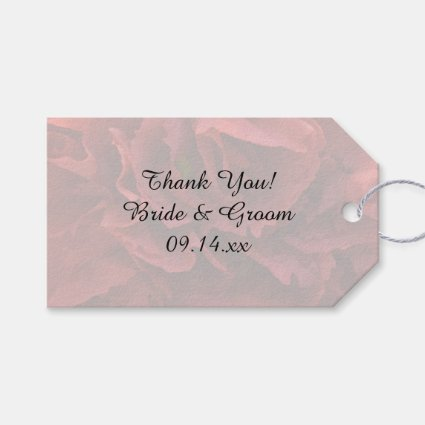 Red Floral Wedding Pack Of Favor Tags
