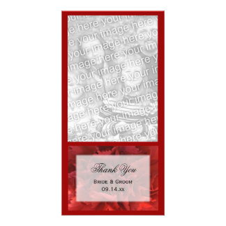 Red Floral Wedding Thank You Card