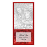Red Floral Wedding Thank You Photo Card