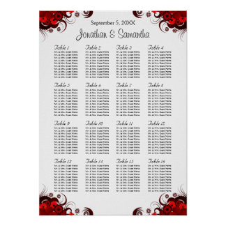 Red Floral & White 16 Wedding Tables Seating Chart Poster