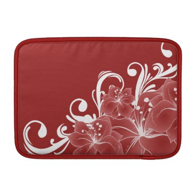 Red Floral White Scrolls Sleeve For MacBook Air