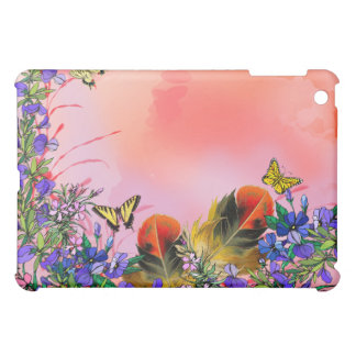 Red floral with butterflies iPad mini cover