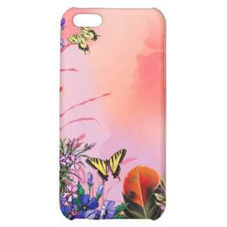 Red floral with butterflies iPhone 5C cover