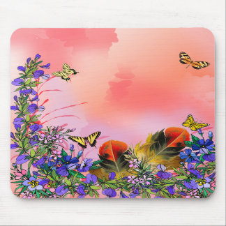 Red floral with butterflies mousepads