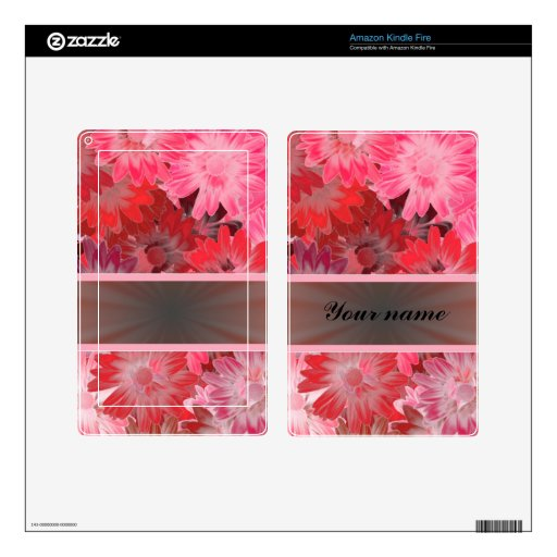 Red Floral With Ribbon Kindle Fire Decal