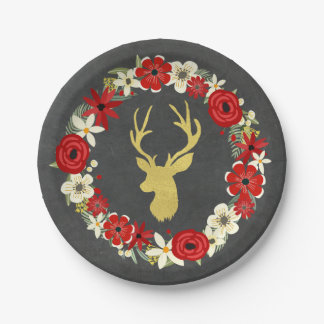 Red Floral Wreath Gold Deer Chalkboard Christmas Paper Plate