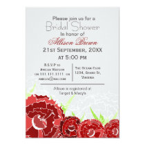 red florals spring Bridal shower Card