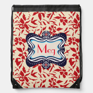 Red Florals with Vintage Blue Lable Drawstring Backpack