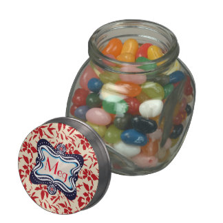 Red Florals with Vintage Blue Lable Jelly Belly Candy Jar