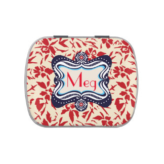 Red Florals with Vintage Blue Lable Jelly Belly Tin