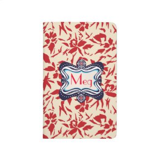 Red Florals with Vintage Blue Lable Journal