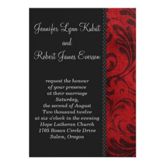 Red Flourish Personalized Announcement