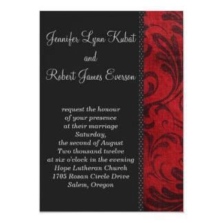 Red Flourish 5x7 Paper Invitation Card
