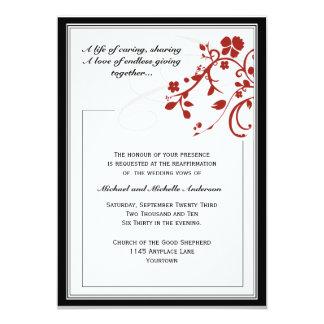 "Red Flourish Vow Renewal Invitation 5"" X 7"" Invitation Card"