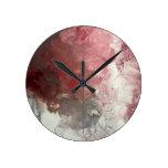 Red Flow Round Clock