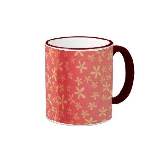 Red flowe curtain mug