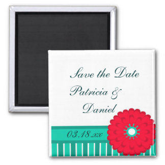 Red Flower and Teal Magnet