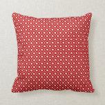 Red Flower Argyle Pattern Cotton Pillow 2