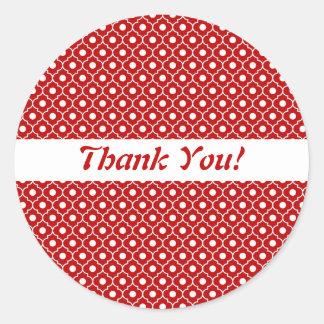 Red Flower Argyle Pattern Envelope Sticker
