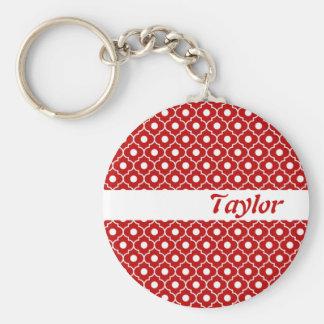 Red Flower Argyle Pattern Keychain