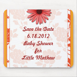 Red Flower Baby Shower Mouse Pad