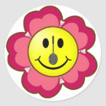 Red Flower Badminton Smiley Classic Round Sticker