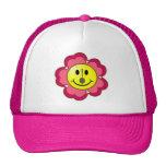 Red Flower Badminton Smiley Mesh Hats