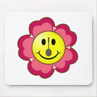 Red Flower Badminton Smiley Mouse Pad