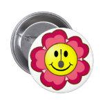 Red Flower Badminton Smiley Pinback Button