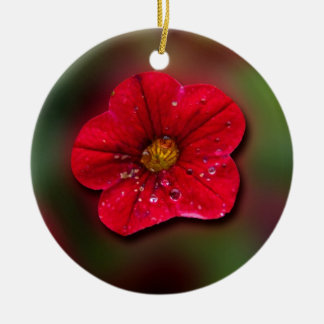 Red Flower Blur Double-Sided Ceramic Round Christmas Ornament