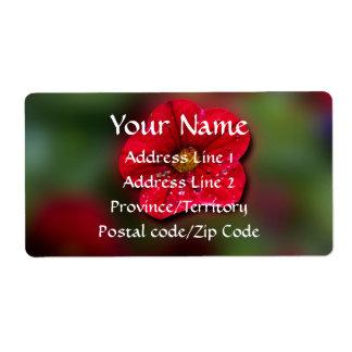 Red Flower Blur Label