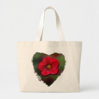 Red Flower Blur Large Tote Bag