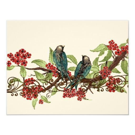 Red Flower Branch Vintage Birds Wedding RSVP 4.25x5.5 Paper Invitation Card