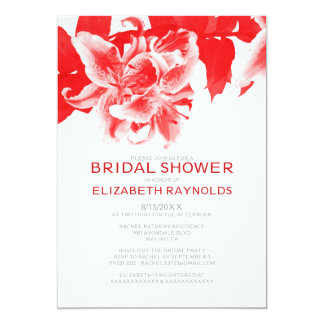 Red Flower Bridal Shower Invitations Announcement