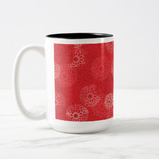 Red Flower Burst Design Two-Tone Coffee Mug