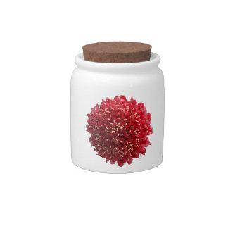 Red Flower Candy Jar