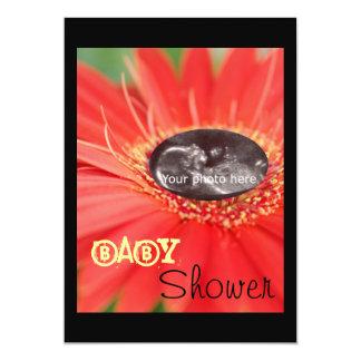 """Red """"Flower Child"""" Ultrasound Baby Shower Invites"""