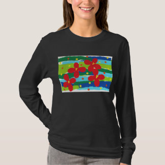 Red Flower Collage Long Sleeve Tee