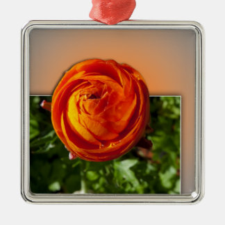 Red flower coming out of frame with a hint of yell square metal christmas ornament