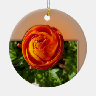Red flower coming out of frame with a hint of yell Double-Sided ceramic round christmas ornament