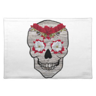 Red Flower Day of the Dead Skull Cloth Placemat