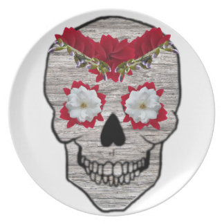 Red Flower Day of the Dead Skull Melamine Plate