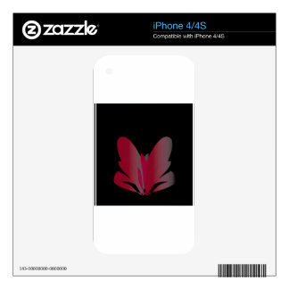 Red Flower Decal For iPhone 4