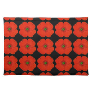 Red flower decorated placemat